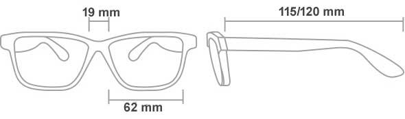 dimensiones de las gafas rx 66