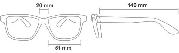 el tamaño de las gafas proteccion radiológicas 52